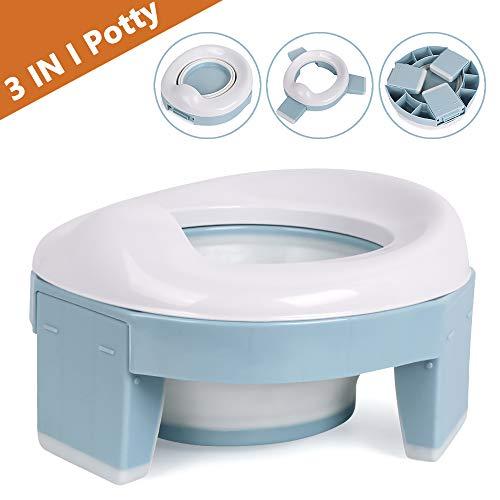 Vasino Portatile da Viaggio Sedile per Bambini 3-in-1 Riduttore Water Allenamento WC Toilette Pieghevole Riutilizzabile Liner (Blu)