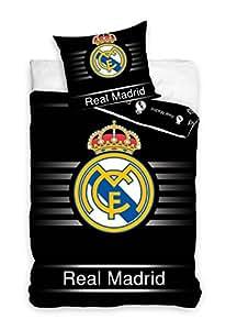 Oeko -Tex-100% Coton Real Madrid Linge de lit housse de couette Ronaldo Benzema 135x200cm noir 2014/2015