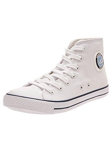 oodji Ultra Donna Sneakers Alte di Tela in Cotone Bianco (1000N)