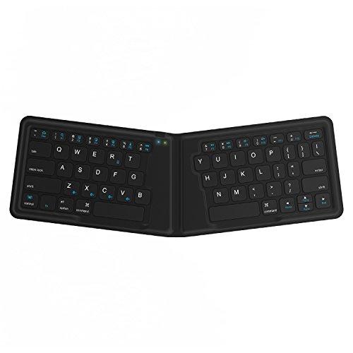 Kanex K166-1128 - Teclado Plegable de Viaje para iOS/Android/ Windows, Teclado QWERTY inglés, Color Negro