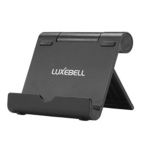 Support Tablette,Luxebell Support Universel Multi-Angles Aluminium mini Portable Stand pour Tablettes Apple iPad Air/Mini,iPhone 6s/6/SE/5S/5/4S/4,Samsung Galaxy Tab et les Smartphones,Noir