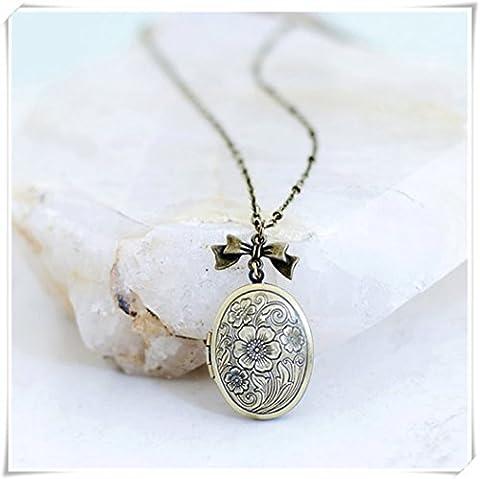 ovale Floral Photo Médaillon Collier Cadeau de bijoux de style vintage, idéal pour la Saint Valentin, anniversaire,