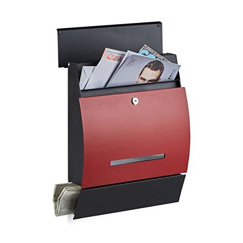 Relaxdays Design Briefkasten mit Zeitungsfach, Pulverbeschichtet, HxBxT: 45 x 35 x 11 cm, Wandbriefkasten, schwarz-rot - Metallic Pulverbeschichtet