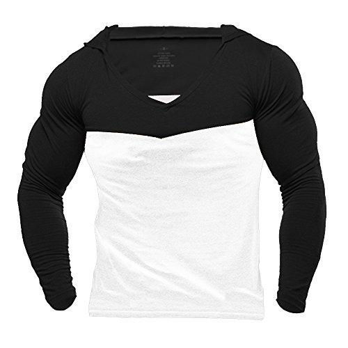 Musclealive Mens Gym Dünne Lange Hülsen Herren Bodybuilding Hoodies Pullover Baumwolle (Black Langarm-shirt Boys)