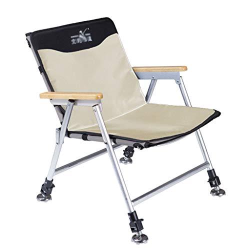 Chaises de pêche Chaise Multifonctionnelle Chaise Pliante Chaise De Plage Chaise De Sport en Plein Air Peut Supporter 100 Kg (Color : Khaki, Size : 5 * 52-62 * 35.5cm)