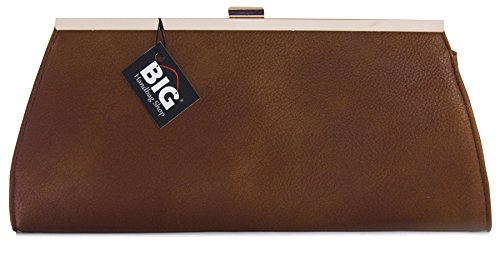 Big Handbag Shop Damen Handtasche, Kunstleder, Abendtasche Medium Tan