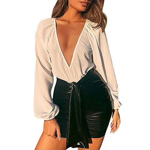 KonJin Frauen Sexy Solide Schulterfrei Pullover Langarm T-Shirt Bluse Tops Deep V- Ausschnitt Langarmshirts T-Shirt Bodies