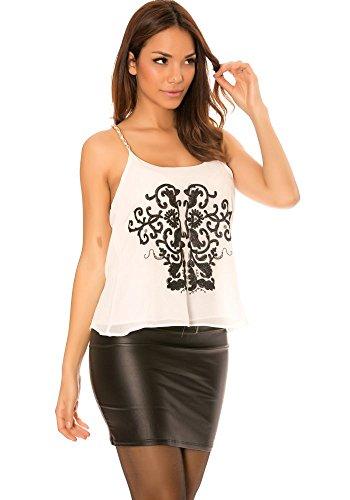 dmarkevous - Top Débardeur femme Blanc à fine bretelle à chaine, avec motifs Blanc