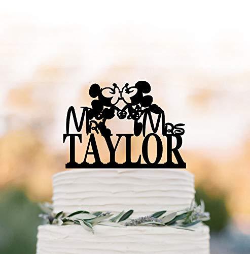 (Personalisierbare Mickey Mouse Hochzeitstorte mit Namen Disney Motto Hochzeit Cake Topper Mickey Mouse and Minnie Mouse Cake Topper)