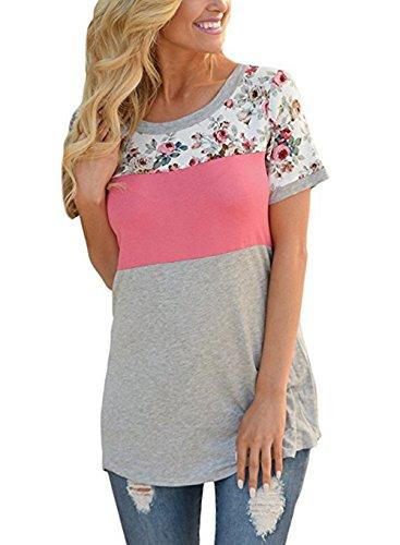 ELFIN® Damen Sommer Kurzarm T-Shirt Rundhals Blumen Shirts mit Colorblock Casual Bluse Tops Frauen Tunika Oberteil Pink