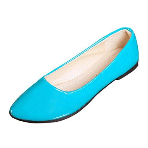 UFACE Candy Farbe Kleine Schuhe Professionelle OL Flachen Sandalen Frauen Damen Slip on Flache Schuhe Sandalen Casual Bunte Schuhe Größe (40, Blau)