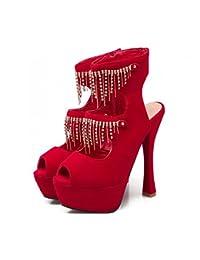 Zapatos de mujer Zapatos de tacón alto Rhinestone Fringe Nightclub para mujer Tallas 40-43 Zapatos romanos Sandalias...