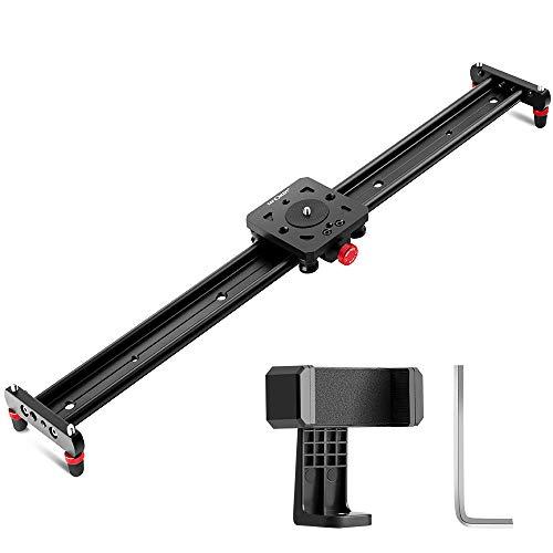K&F Concept 60CM Slider Cámara DSLR Estabilizador con 4 Rodamientos de U Orificio de Rosca de 1/4' y 3/8' para Smartphone Cámara DSLR Videocámara DV Fotografía Youtube y Estudio, Aluminio, Carga 8kg