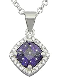 0e6b9c3b44e6 hanessa de plata de ley 925 rodiada de mujer joyas collar de cadena y colgante  de plata auténtica lila circonitas…