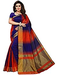Fabwomen Cotton Silk Saree With Blouse Piece (_Red And Blue_Free Size)