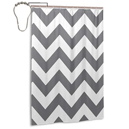 Haloxa Grey and White Chevron Zigzag Zig Zag 3D Bathroom Duschvorhang with 12 Pieces Hooks Anti Mould Polyester Fabric 48 x 72 Inch