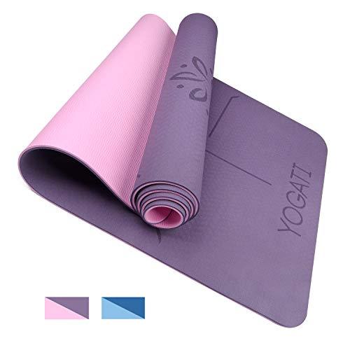 YOGATI - Tapis de Yoga Antidérapant, Epais, Ecologique et Non Toxique en TPE avec des repères d'alignement du Corps. Un Tapis Yoga...