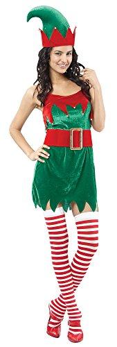 Weihnachtswichtel Damenkostüm rot-grün (Das Für Kostüm Erwachsene Kobold)