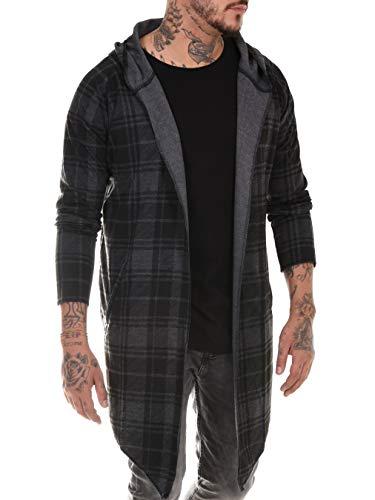 BAXMEN CULTWEAR Herren Cardigan Hoodie Destroyed Jacke Lang Strickjacke Hooded Long Sweatjacke Lang Vintage Slim Fit 34- Dark Gray Check XX-Large