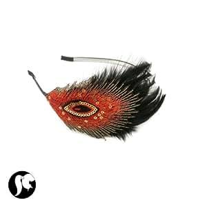 Serre Tete Noir et Rouge Métal et Plumes - Accessoires pour Coiffer Cheveux