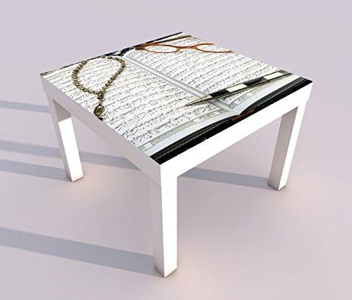 Design - Tisch mit UV Druck 55x55cm Türkei Koran Buch rot türkisch Islam arabische Schrift Kette text Spieltisch Lack Tische Bild Bilder Kinderzimmer Möbel 18A2697, Tisch 1:55x55cm