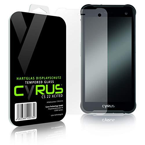 Original Cyrus Hartglas Bildschirmschutz für CS22 XCITED mit Zubehör für die einfache & blasenfreie Montage