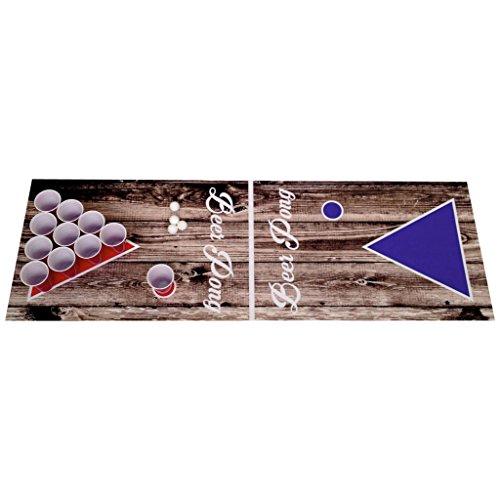 Beer Pong Beerpong Trinkspiel Set Wood Edition Spielfeld 220x50 Becher Bälle