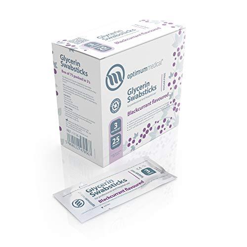 Optimum Medical Glycerin Swabsticks - Geschmack nach Zitrone oder schwarzer Johannisbeere (Schwarze Johannisbeere - Schachtel mit 75 Stück) -