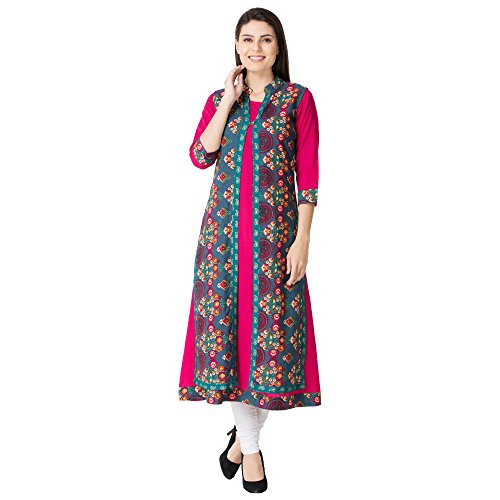M&D Women's Cotton Kurta(MD308-Jacket Seagreen-S__Small)