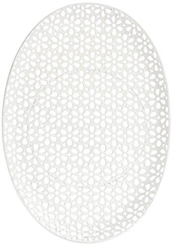 HEITMANN DECO Assiettes Ovale en Métal Blanc, 42 x 29 x 2,5 cm