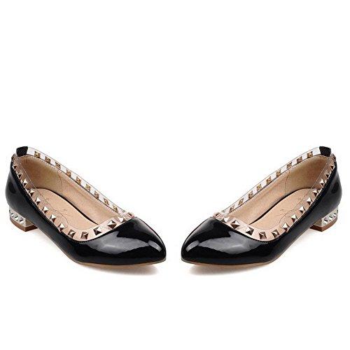 VogueZone009 Femme Mosaïque Pu Cuir à Talon Bas Pointu Tire Chaussures Légeres Noir