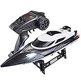 2.4G 4CH 180 Flip Imperméable 35Km / H Haute Vitesse Racing Bateaux RC W/LED Lumières Telecommandé Speedboat Enfants Cadeau Jouet,Black