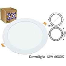 2x Downlight led 18W 6000K redondo empotrar blanco - Jandei