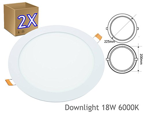 JANDEI - Pack 2 x Downlight LED Extraplano Redondo Blanco, 18W (1440 Lm), 6000K (Luz Fría) Hueco 200mm (Disponible En Varios Tonos De Luz)