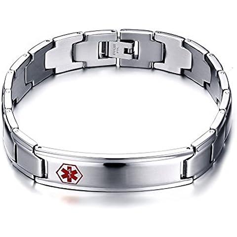 mealguet Jewelry–Anillo de acero inoxidable Pulsera pulsera de ID Tag Logo de Cruz de alerta médica de silicona para hombre