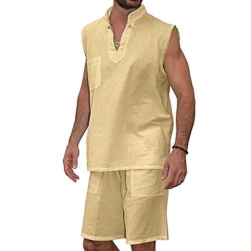 n Hemden Kurzarm T Shirts Sets 2 teilig Leinen Set Anzug Sommer V Auschnitt Slim Fit Oberteile Strandhemd und Freizeitshorts Sportshorts Mode Hippie Poloshirt Set Regular fit ()