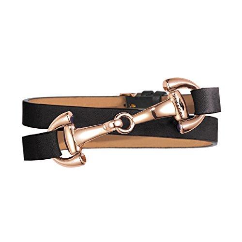 Trensen-Armband | DIMACCI | Favorit Kollektion | Schmuck für Reiterinnen | Geschenkidee für Pferdeliebhaber | Reiter-Schmuck (Schwarz, Edelstahl rose-vergoldet)
