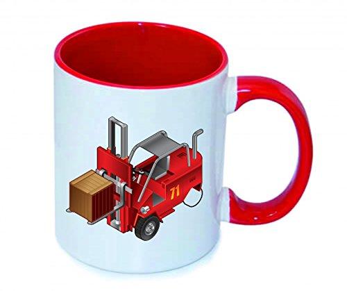"""Tasse 330ml """"GABELSTAPLER- LKW- AUTO- AUFZUG- FAHRZEUG- FABRIK- VERKEHR- LAGERUNG- ARBEIT- FRACHT- INDUSTRIE"""" aus Keramik - Größe: Ø8,5 H9,5 cm - Kaffeetasse - Teetasse - Spass- Kult- Motiv Geschenkidee Weihnachten"""