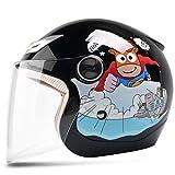 Kinderhelm Elektrisches Motorrad Junge Weibliches Kind Baby Vier Jahreszeiten Cartoon Helm Sommer Half Helm (Farbe : SCHWARZ)