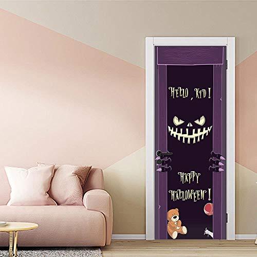 XXXCH 3D Türaufkleber Halloween Monster 77X200CM Türtapete selbstklebend TürPoster - Fototapete Türfolie Poster Tapete Meer Aufkleber DIY Selbstklebende Wandbild PVC Wasserdichte Tapete