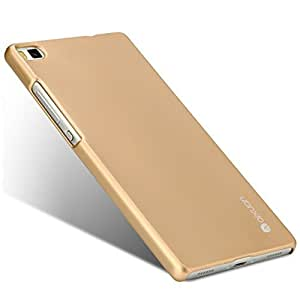 Huawei P8 Lite Case, Baby Skin/ Frosted Hard Back Cover Skin, Metal Luster Plastic Protective Shell, Slim & Ultra Thin [Pack of Screen Protector Film] [Retail Packaging] (Sopin Gold)