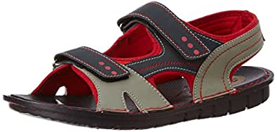 Bata Men's Kfun Black, Grey and Red Athletic & Outdoor Sandals - 8 UK/India (42 EU) (8619065)