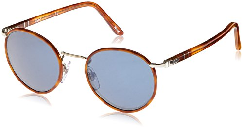 Persol Unisex PO2422SJ Sonnenbrille, Mehrfarbig (Light Gold,Terra di Siena/Blue internal anti-glare-treatment 106156), Small (Herstellergröße: 49)