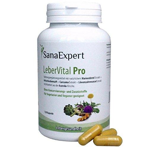 SanaExpert LeberVital Pro, Nahrungsergänzung für Leber und Galle mit Mariendistel, Curcuma, Löwenzahnwurzel, Artischockensaft und Acerola, 120 Kapseln (95 g)