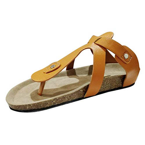 Deloito 2019 Damen Mode Flip-Flops Kork Hausschuhe Römischen Sandalen Vintage Schnalle Flach Sandaletten Strand Schuhe Post Hausschuhe (Braun,41 ()