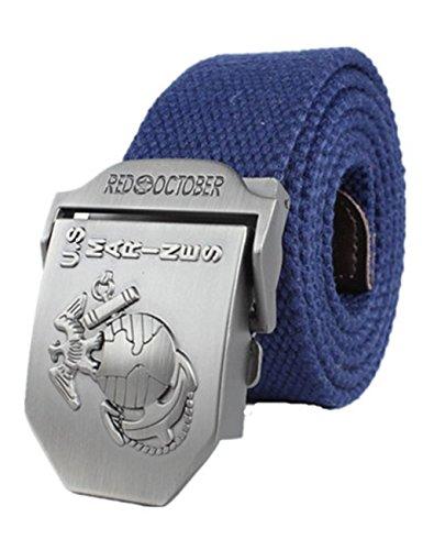 menschwear-mens-adjustable-cotton-canvas-belt-metal-buckle-military-style-45-120cm-navy