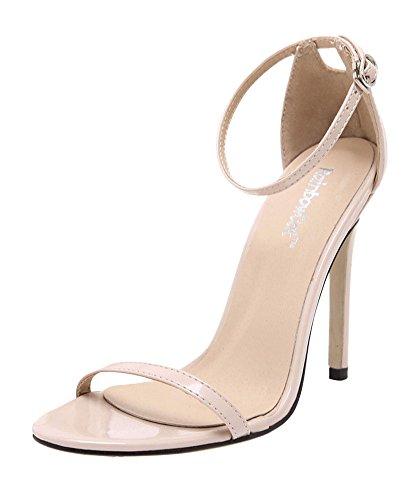 8d7f484039ef17 Chaussure Sandales Talon Aiguille Cuir Haute Escarpins Sexy Femmes Ete  Wealsex Boucles Cheville Beige Vernie Ouvert ...