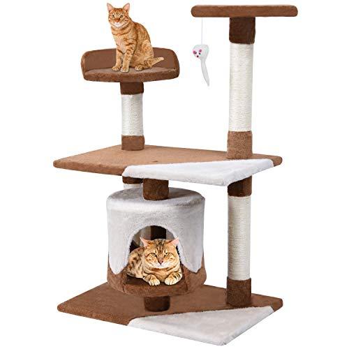 Finether-/Árbol para Gato con Rascador Casitas para Gatos Juguete de Sisal Natural Color Gris con Columnas