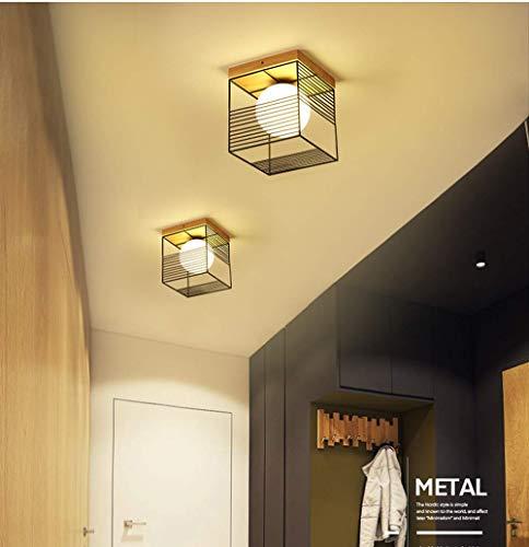 OOFAY LIGHT Deckenleuchte Modern Eckig Deckenlampe Decke Leuchte Holz Metall Glas Lampeschirm Flur Diele Korridor Balkon Arbeitszimmer Gang Deckenbeleuchtung Dekoration Beleuchtung E27 1 flammig,Wei