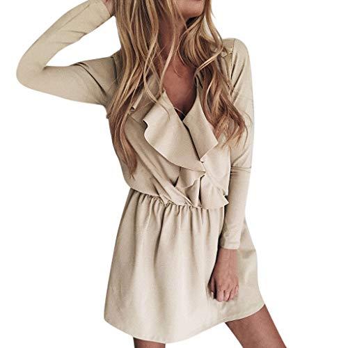 CUTUDE Rüschenkleid Midikleid Damen,Reizvolle Frauen Swing-Kleid Tief V-Ausschnitt Abendkleid Langarm Kniekleid Laternenhülse Partykleid Herbstkleid Ballkleid (Khaki, X-Large) - Erwachsenen-camisole-kleid